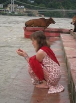 Lisa on the bank of the Ganges in Rishikesh